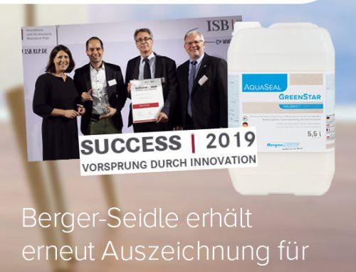 Berger-Seidle erhält erneut Innovationsauszeichnung für Top-Produkt AquaSeal GreenStar